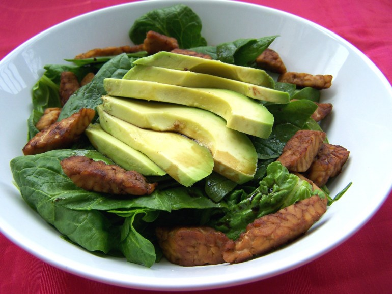 Smoky tempeh avocado salad, vegan