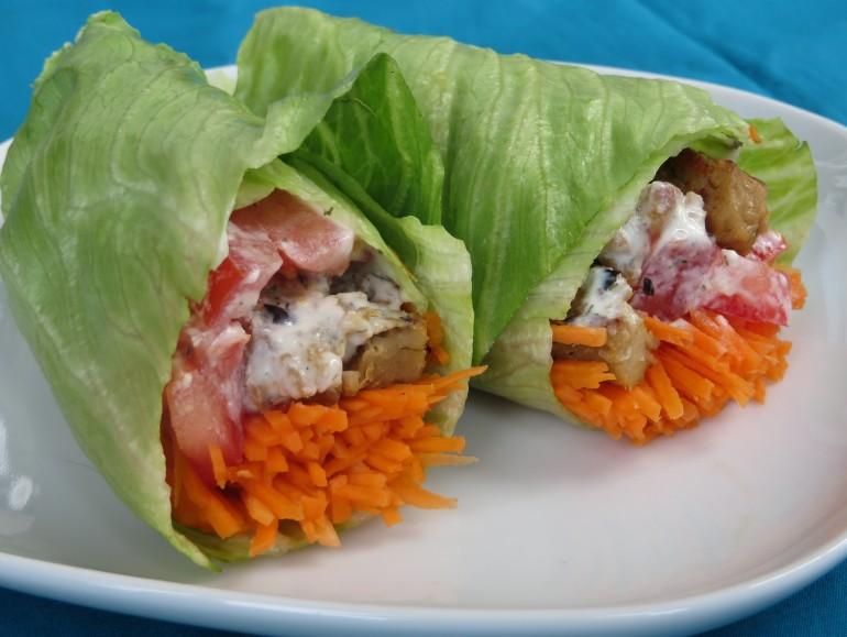 Seitan lettuce wraps, low carb vegan