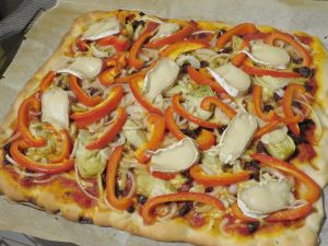 Pizza with cashew brie, vegan