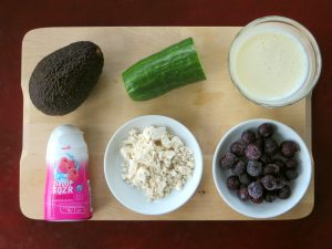 Avocado smoothie ingredients, vegan