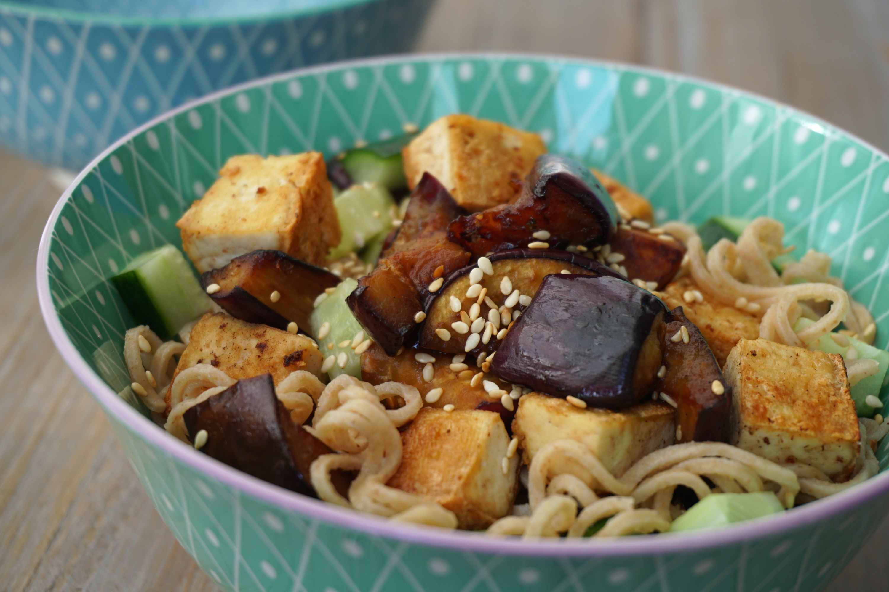 Low carb noodle salad with marinated eggplant, vegan
